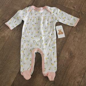 2/$15 BNWT Rene Rofe baby girl lemon sleeper 3-6 m